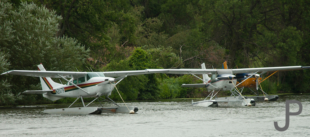 Float planes tied up at EAA Airventure in Oshkosh, WI