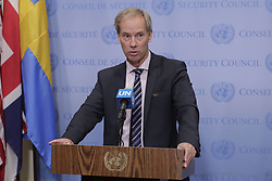 July 5, 2018 - New York, United States - United Nations, New York, USA, July 05 2018 - Olof Skoog and Permanent Representative of Sweden to the United Nations and President of the Security Council for the month of July, briefs journalists on the Yemen War today at the UN Headquarters in New York City. (Credit Image: © Luiz Rampelotto/NurPhoto via ZUMA Press)