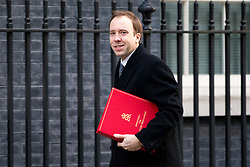 © Licensed to London News Pictures. 30/01/2018. London, UK. Secretary of State for Digital, Culture, Media and Sport Matt Hancock arriving in Downing Street to attend a Cabinet meeting this morning. Photo credit : Tom Nicholson/LNP