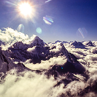 Afternoon clouds over Ama Dablam and the Khumbu from Baruntse