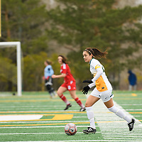 5th year midfielder Shayla Kapila (13) of the Regina Cougars in action during the Women's Soccer Home Game on October 21 at U of R Field. Credit Matt Johnson/Arthur Images