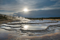 Sunset at Great Fountain Geyser Yellowstone National Park