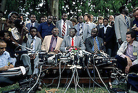 Robert Mugabe seen at a press conference during the run up to the Rhodesian Independence in 1980. Salisbury, Rhodesia. Photograph by Terry Fincher