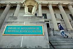 16 March 2015. New Orleans, Louisiana.<br /> The Israel M Augustine Jr Criminal Justice Center, otherwise known as the Orleans Parish Criminal District Court.<br /> Photo; Charlie Varley/varleypix.com