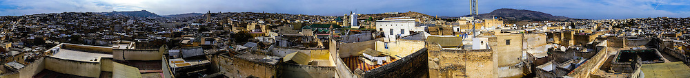 Morocco. Panorama from a rooftop. The medina in Fes, Fes el Bali, is on UNESCO's World Heritage Site list.