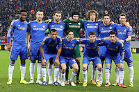 Chelsea's players pose before the first leg of the UEFA Europa League round of 16 football match between Steaua Bucharest and Chelsea at the National Arena Stadium in Bucharest on March 7, 2013.