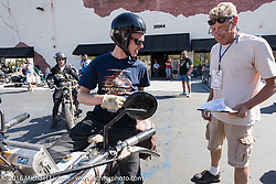 Eric Trapp of Frankfurt, Germany on his 1916 Harley-Davidson twin as he arrives at the hosted lunch stop at Temecula Harley-Davidson on the last day of the Motorcycle Cannonball Race of the Century. Stage-15 ride from Palm Desert, CA to Carlsbad, CA. USA. Sunday September 25, 2016. Photography ©2016 Michael Lichter.