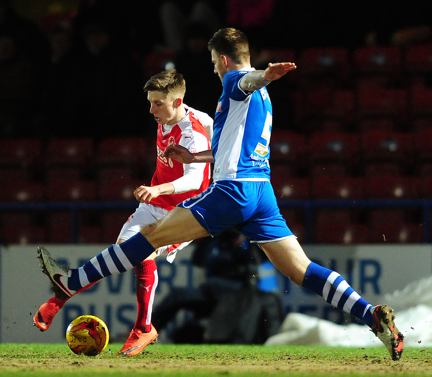 Fleetwood Town's Ashley Hunter vies for possession with Rochdale's Ashley Eastham <br /> <br /> Photographer Chris Vaughan/CameraSport<br /> <br /> Football - The Football League Sky Bet League One - Rochdale v Fleetwood Town - Tuesday 23rd February 2016 - Scotland - Rochdale   <br /> <br /> © CameraSport - 43 Linden Ave. Countesthorpe. Leicester. England. LE8 5PG - Tel: +44 (0) 116 277 4147 - admin@camerasport.com - www.camerasport.com