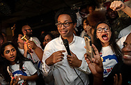 7 Aug. 2018 -- St. Ann, Mo. -- Wesley Bell accepts congratulations after winning the Democratic nomination for St. Louis County Prosecutor at Acapulco Restaurant & Lounge in St. Ann, Mo., Tuesday, Aug. 7, 2018. Bell beat incumbent Bob McCulloch in the Democratic primary, and has no opponent in the general election.  Photo © copyright 2018 Sid Hastings.