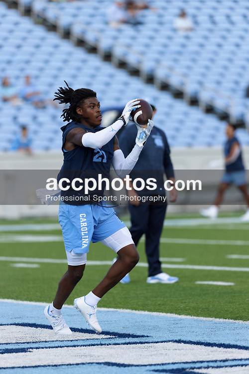 CHAPEL HILL, NC - SEPTEMBER 11: Dontavius Nash #21 of the North Carolina Tar Heels plays during a game against the Georgia State Panthers on September 11, 2021 at Kenan Stadium in Chapel Hill, North Carolina. North Carolina won 59-17. (Photo by Peyton Williams/Getty Images) *** Local Caption *** Dontavius Nash