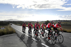 December 15, 2017 - Majorca, SPAIN - Belgian Tosh van der Sande of Lotto Soudal, Belgian Maxime Monfort of Lotto Soudal, Belgian Jelle Wallays of Lotto Soudal and Belgian Remy Mertz of Lotto Soudal pictured in action during a press day during Lotto-Soudal cycling team stage in Mallorca, Spain, ahead of the new cycling season, Friday 15 December 2017. BELGA PHOTO DIRK WAEM (Credit Image: © Dirk Waem/Belga via ZUMA Press)