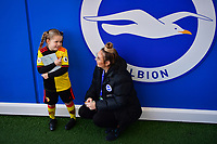 Football - 2019 / 2020 Premier League - Brighton & Hove Albion vs. Watford<br /> <br /> A young Watford mascot waiting for autographs before the game, at the Amex Stadium.<br /> <br /> COLORSPORT/ASHLEY WESTERN