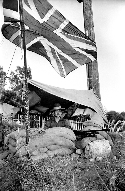 Cyprus War 20 July 18 August 1974. Turkish invasion of Cyprus code-name by Turkey, Operation Attila. A Gurkha soldier guards a British military base during the Turkish invasion July 1974. Photo by Terry Fincher.