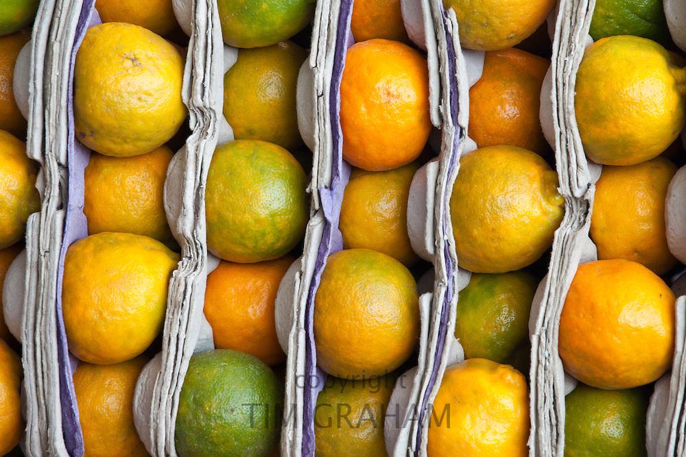 Fresh oranges on sale at market stall in Varanasi, Benares, India