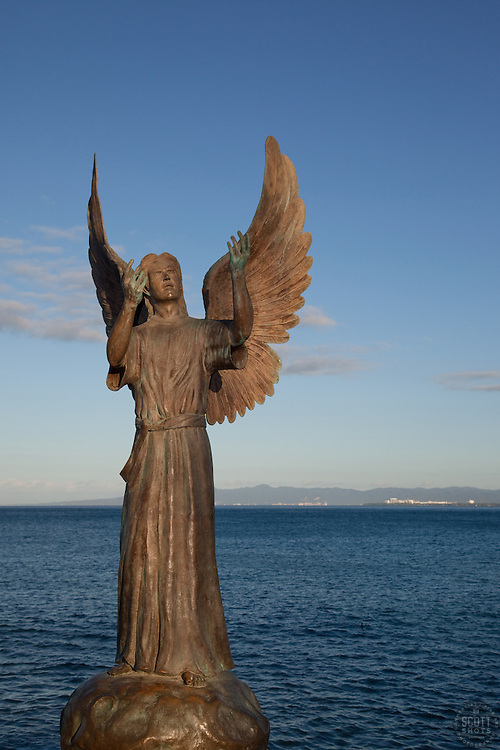 """""""Angel of Hope"""" - This angel statue was photographed at the Malecon in Puerto Vallarta, Mexico."""