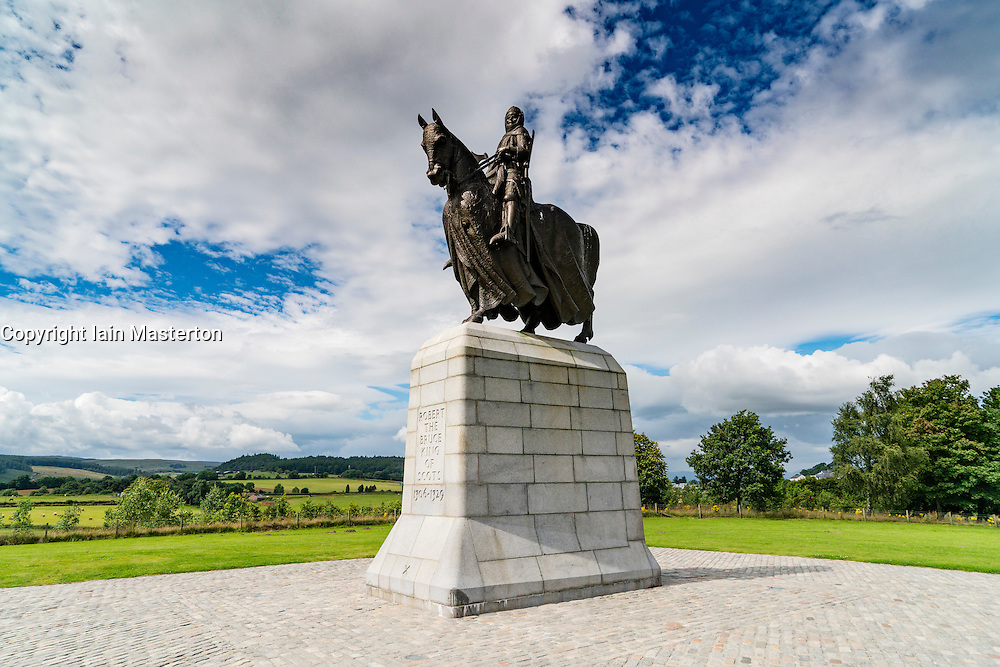 Statue of King Robert the Bruce at Bannockburn Heritage Centre in Stirling, Stirlingshire, Scotland, United Kingdom