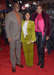 """Magic Johnson, Cookie Johnson and EJ Johnson at the Broadway opening of """"To Kill A Mockingbird"""" in New York City."""