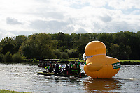 MUSICIANS performed with  giant inflatable duck near temple island henley raising money for  Macmillan Cancer Support