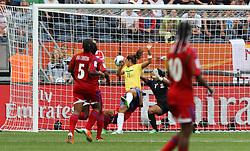 06.07.2011, Commerzbank-Arena, Frankfurt, GER, FIFA Women Worldcup 2011, Gruppe D, Äquatorial-Guinea (EQG) vs. Brasilien (BRA) ,. im Bild Torhüterin Miriam (EQG) machtlos  gegen Cristiane (BRA) , es steht 2:0 für Brasilien . // during the FIFA Women´s Worldcup 2011, Pool D, Equatorial Guinea vs Brazil on 2011/07/06, Commerzbank-Arena, Frankfurt, Germany. EXPA Pictures © 2011, PhotoCredit: EXPA/ nph/  Karina Hessland       ****** out of GER / CRO  / BEL ******