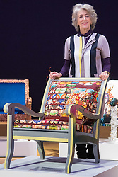 """Bonhams, London, February 29th 2016. Actress Maureen Lipman with the chair she created during a photocall for """"Sitting Pretty"""", featuring unique, hand painted and upholstered chairs made by 30 celebrities and artists, at Bonhams ahead of their auction in support of a leading AIDS charity, CHIVA Africa.<br /> ©Paul Davey<br /> FOR LICENCING CONTACT: Paul Davey +44 (0) 7966 016 296 paul@pauldaveycreative.co.uk"""