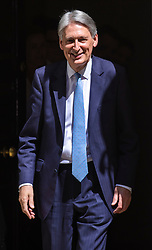 © Licensed to London News Pictures. 24/07/2019. London, UK. The Chancellor of The Exchequer Philip Hammond leaves 11 Downing Street before Prime Minister's Questions. The Chancellor is expected to hand in his resignation today, ahead of Boris Johnson becoming the next Prime Minister. Photo credit: Rob Pinney/LNP