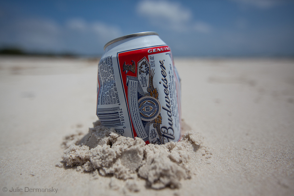 Budwieser beer can left on the beach in Pass Christian, Mississippi on the beach where an<br /> n unprecedented number of dead animals   have washed up on the shores of Mississippi along the Gulf of Mexico starting almost a year after the BP oil spill. in Long Beach, Mississippi on the beach.<br /> An unprecedented number of dead animals   have washed up on the shores of Mississippi along the Gulf of Mexico starting almost a year after the BP oil spill.