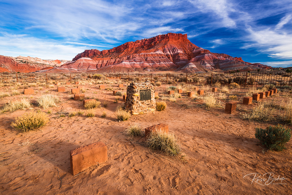 Tombstones at the Paria pioneer cemetery, Grand Staircase-Escalante National Monument, Utah USA