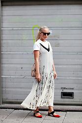 Street style, Nathalie Helgerud arriving at Greta Gram Spring Summer 2017 show held at Stockholms Auktionsverk, Nybrogatan 32, in Stockholm, Sweden, on August 30th, 2016. Photo by Marie-Paola Bertrand-Hillion/ABACAPRESS.COM