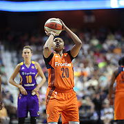 UNCASVILLE, CONNECTICUT- JULY 15:  Alex Bentley #20 of the Connecticut Sun shooting a free throw during the Los Angeles Sparks Vs Connecticut Sun, WNBA regular season game at Mohegan Sun Arena on July 15, 2016 in Uncasville, Connecticut. (Photo by Tim Clayton/Corbis via Getty Images)
