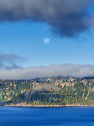Wizard Island and Setting Moon in Summer,<br /> Crater Lake National Park, Oregon