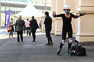 """Not everyone in the """"walk up"""" line at Vaccination Center, Royal Exhibition Building walked there this morning in Melbourne on the 7th day the state wide COVID-19 lockdown that has been placed on the State of Victoria. (Photo by Michael Currie/Speed Media)"""
