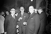 13/11/1967<br /> 11/13/1967<br /> 13 November 1967<br /> Leather Fashions at the Gresham Hotel, Dublin.<br /> Pictured at the event L-R: Mr. J. Griffith; Mr. T.S.L. Moran and Mr. Matt Connolly.