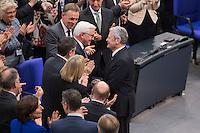 12 FEB 2017, BERLIN/GERMANY:<br /> Frank-Walter Steinmeier (M-L), neu gewählter Bundespraesident, und Joachim Gauck (M-R), Bundespraesident a.D., Gratulationen nach Steinmeiers Wahl zum Bundespraesident, 16. Bundesversammlung zur Wahl des Bundespraesidenten, Reichstagsgebaeude, Deutscher Bundestag<br /> IMAGE: 20170212-02-123<br /> KEYWORDS; Bundespraesidentenwahl, Bundespräsidetenwahl, gratuliert, Blumen,