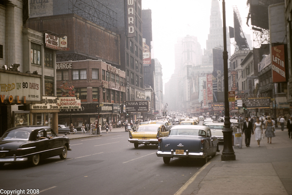 The corner of 49th Street is seen looking from Broadway in New York City during August 1958.