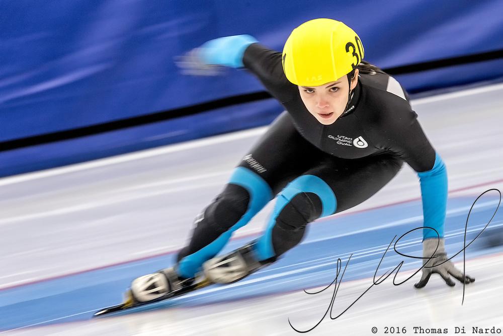 December 17, 2016 - Kearns, UT - Danielle Amos skates during US Speedskating Short Track Junior Nationals and Winter Challenge Short Track Speed Skating competition at the Utah Olympic Oval.