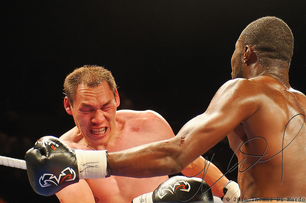 June 19, 2009 - Richmond, BC - Rumble at the Rock IV - Cruiserweight fighters Jegbefumere Bone Albert of Vancouver, BC, and Willard Lewis of Hobbema, Alberta, squared off in a six round non-title bout. Albert put in a strong showing by solidly dismantling Lewis in the semi-main event. Albert's record extended to 6-0 with four KOs when Lewis was unable to leave his corner for the fourth round. Albert, a Nigerian Olympian was clearly the faster and more prepared fighter working a very fast right jab for which Lewis had no answer (17-21). Albert's steady assault with the jab left Lewis bloodied and much worse for wear.