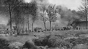 World War I 1914-1918:  French farmhouse set on fire by German shellfire. From  'Le Flambeau', Paris, 18 September 1915.