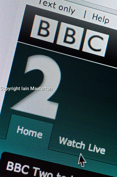 Detail of screenshot from website of BBC Two television channel homepage