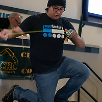 New Mexico State Yoyo Chamption Josh Salazar, 18, dazzles the crowds with a performance at the Recycled Crafts Fair on November, 2, 2019 in Gallup.