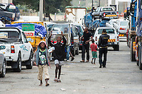 Vehicles queing up while waiting for the Save police convoy, Save River Bridge, Inhambane Province, Mozambique