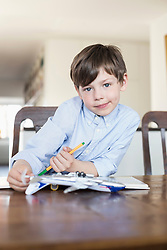 Portrait of boy playing with model airplane