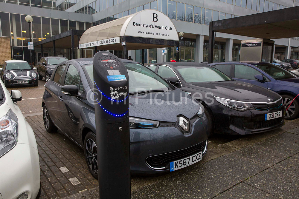 One of the Chargemaster EV charging points as part of the POLAR Network outside the Ballantine's Health Club in Milton Keynes, United Kingdom. The POLAR Network has over 6,000 charging points across the United Kingdom.