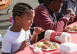 November 22, 2018 - Los Angeles, California, U.S - People enjoy their Thanksgiving meal Thursday, Nov. 22, 2018, in Los Angeles. Thousands of Skid Row residents and homeless people from downtown and beyond were served Thanksgiving dinners during the Los Angeles Mission's annual holiday feast. (Credit Image: © Ringo Chiu/ZUMA Wire)