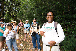 Hawaii: Molokai, Halawa Valley, with hike in past taro fields, ancient walls, to waterfalls, guided by Lawrence Aki..Photo himolo219-72388..Photo copyright Lee Foster, www.fostertravel.com, lee@fostertravel.com, 510-549-2202