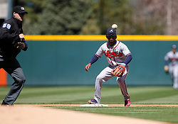 April 8, 2018 - Denver, CO, U.S. - DENVER, CO - APRIL 08: Atlanta Braves Infielder Ozzie Albies (1) fields a throw at second base during a regular season MLB game between the Colorado Rockies and the visiting Atlanta Braves on April 8, 2018 at Coors Field in Denver, CO. (Photo by Russell Lansford/Icon Sportswire) (Credit Image: © Russell Lansford/Icon SMI via ZUMA Press)