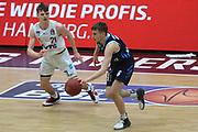 Basketball: Deutschland, 1. Bundesliga, Hamburg Towers -  Alba Berlin, Hamburg, 23.03.2021<br /> Justus Hollatz (Towers, l.) - Malte Delow (Alba)<br /> © Torsten Helmke