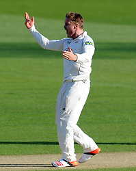 Surrey's Jason Roy celebrates the wicket of Glamorgan's Dean Cosker. - Photo mandatory by-line: Harry Trump/JMP - Mobile: 07966 386802 - 21/04/15 - SPORT - CRICKET - LVCC County Championship - Division 2 - Day 3 - Glamorgan v Surrey - Swalec Stadium, Cardiff, Wales.