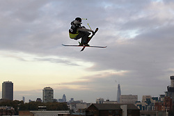 © Licensed to London News Pictures. 28/10/2011, London, UK.  Sweden's Oscar Scherlin jumps during the International Freeski competition at the Freeze Snowboard and Ski Festival at Battersea Power Station in London, Friday, Oct. 28, 2011. Photo credit : Sang Tan/LNP