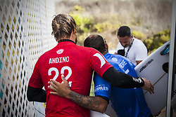 September 12, 2017 - Kolohe Andino of USA and Jadson Andre of Brazil showing good sportsmanship after thier battle in Round Two of The Hurley Pro...Hurley Pro at Trestles 2017, California, USA - 12 Sep 2017 (Credit Image: © Rex Shutterstock via ZUMA Press)
