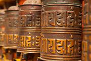 Prayer wheels at the Boudhanath stupa, Kathmandu, Nepal